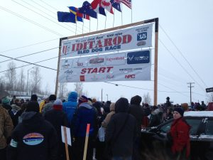 Crowds at start of Iditarod